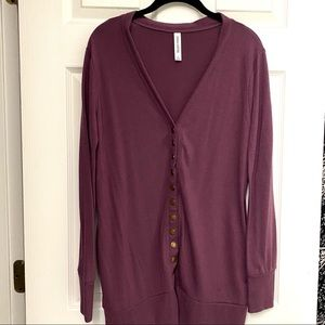 Zenana Outfitters Button-Up Sweater Cardigan L